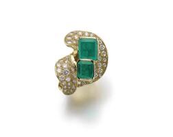 46. emerald and diamond ring