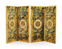 32. a louis xiv savonnerie moquette four-leaf folding screen, chaillot manufacture, circa 1707-1709  