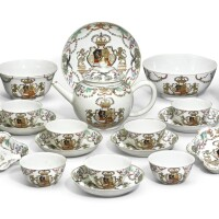 12. a chinese export armorial famille-rose tea set with the coat-of-arms of the house of orange qing dynasty, circa 1747