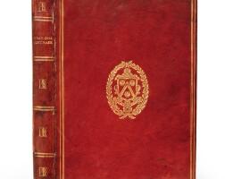 107. theodoret de cyr. dialogi tres ... rome, 1547. maroquin rouge aux armes et au chiffre de j.-a. de thou.