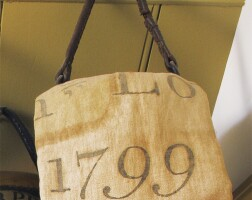 38. two painted linen fire bags, probably new england, late 18th century