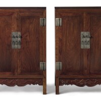 358. a pair of small huanghuali square-corner cabinets (xiaogui) qing dynasty, 18th century
