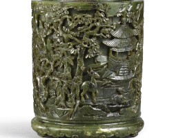 3623. a finely carved spinach-green jade 'landscape' brush pot qing dynasty, 18th – 19th century |