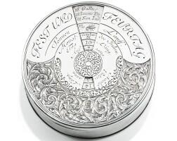 249. a german circularsilver calendar-box, unmarked, circa 1700   a german circularsilver calendar-box, unmarked, circa 1700