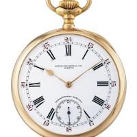 198. 百達翡麗(patek philippe)   「chronometro gondolo」粉紅金懷錶,1913年製。