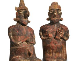 28. nayarit seated couple, ixtlán del rio style, protoclassic, ca. 100 b.c.-a.d. 250