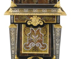 28. a louis xiv ormolu-mounted tortoiseshell, tinted horn, brass and pewter-inlaid boulle marquetry and ebony coffer on stand, attributed to andré-charles boulle circa 1710