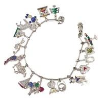 468. platinum, gold, diamond, enamel, pearl and colored stone charm bracelet