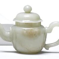 1539. 清十九世紀 青白玉茶壺  