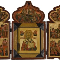 556. a triptych with st nicolas and scenes from his life, russian, late 18th / early 19th century |