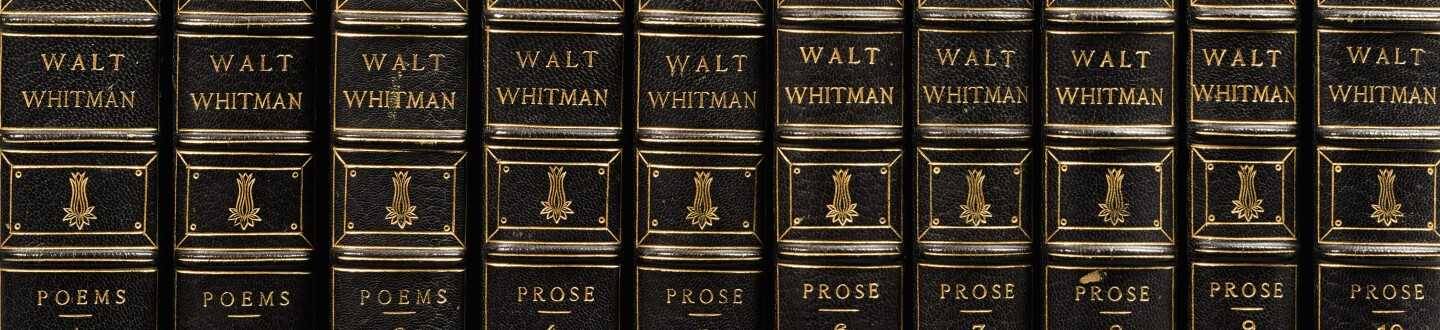 A series of leather bound rare books by Walt Whitman