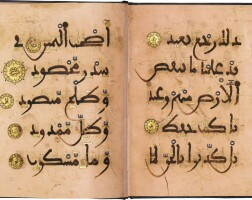 10. a qur'an bifolium in maghribi script, north africa or andalusia, late 12th/13th century ad