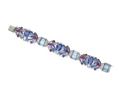 418. platinum, aquamarine, sapphire, ruby and diamond bracelet