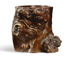 3012. a rock-inset burl wood brushpot qing dynasty, 18th century |
