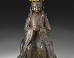 107. a gilt-lacquered bronze figure of bixia yuanjun ming dynasty, 16th / 17th century