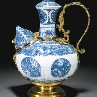 7. a blue and white kendi with german silver-gilt mounts, the porcelain ming dynasty, wanli period (1572-1620), the mounts unmarked, probably augsburg or nuremberg, early 17th century