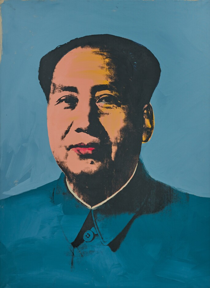 Images of Chairman Mao with blue shirt on a blue background.