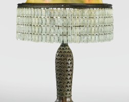"204. tiffany studios | a rare ""fringe"" table lamp"