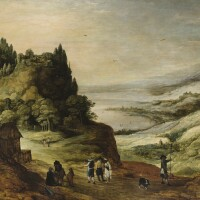 42. joos de momper le jeune | a panoramic mountainous river landscape with travellers on a path together with a dog, a fortified village on a mountaintop nearby and other village in the far distance