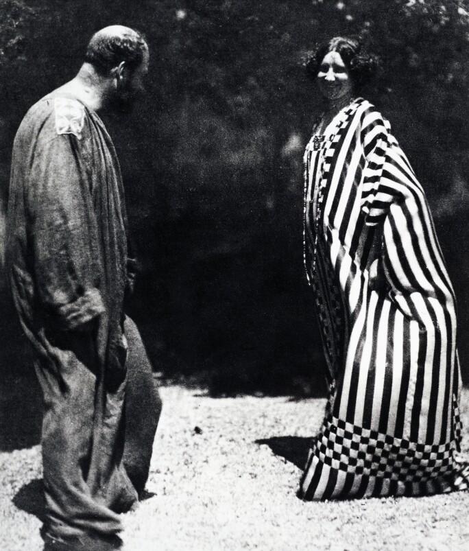 Gustav Klimt and Emilie Flöge, wearing kaftans designed by Klimt, himself (b/w photo)