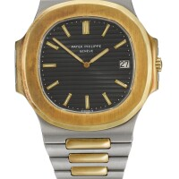 21. patek philippe   nautilus, reference 3700/11a yellow gold and stainless steel wristwatch with date and bracelet, made in 1976