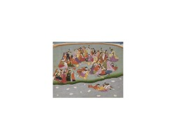 13. an illustration from the harivamsa: krishna, satyabhama and narada swimming in the waters of the yamuna