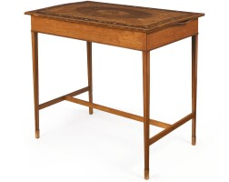 40. a george iii satinwood, mahogany, tulipwood, harewood and fruitwood center table, circa 1790