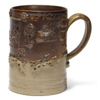 611. a london brown stoneware dated large tankard 1727 |