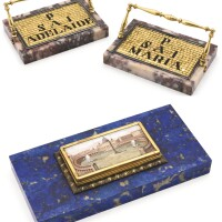 245. a 'grand tour' souvenir micromosaic and lapis lazuli paperweight with a view of st peter's square, rome, circa 1840 | a 'grand tour' souvenir micromosaic and lapis lazuli paperweight with a view of st peter's square, rome, circa 1840
