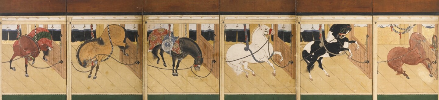 17th Century Stable with Fine Horses in an auction selling Japanese Art