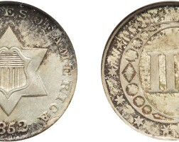 4. three-cent piece, silver, 1852, ngc ms 65 cac