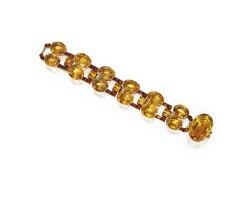 10. an 18 karat gold, platinum, citrine and diamond bracelet, cartier, london