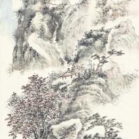 1224. 黃賓虹 青山紅樹 | 設色紙本 立軸 一九三八年作