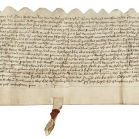 3. indenture recording the transfer of land and a tenement at boningale, shropshire, in latin; dated at boningale, [sunday, 30 july 1413]