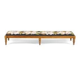 35. a victorian walnut and foliate needlework fender stool, circa 1850