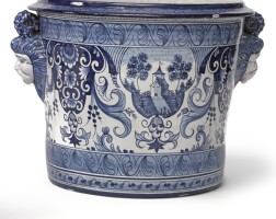 8. a continental faïence nevers-style blue and white large jardinière 19th century