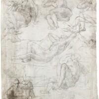 5. daniele ricciarelli, called daniele da volterra | recto: a sheet of male nude studies for the apostles in a resurrectionverso: seven male nude studies for the same