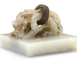3622. a white jade 'hong chan fo zong' buddhist seal yuan dynasty