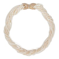 7. cultured pearl and diamond necklace, van cleef & arpels, france