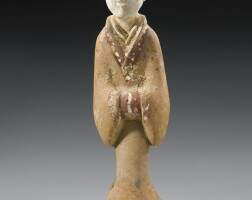 15. a painted gray pottery figure of a female attendant han dynasty