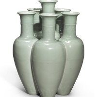 534. a rare celadon-glazed revolving six-necked vase (liukongping) qianlong seal mark and period |