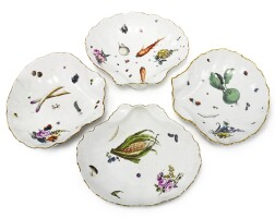382. four meissen shell-shaped dishes circa 1750