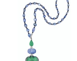 364. elegant and rare platinum, emerald, sapphire, lapis lazuli and diamond pendant-necklace, designed by charles jacqueau for cartier, paris
