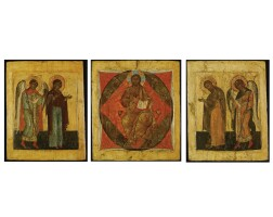 401. a set of three icon panels depicting the deisis, northern school, possibly vologda, 2nd half of 16th century