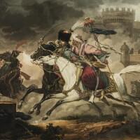 198. philibert louis debucourt after carle vernet   combat de hussard et de mameluck dans une sortie