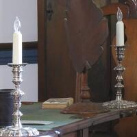44. pair of american silver candlesticks, william de matteo, williamsburg, virginia, circa 1974
