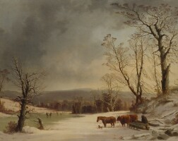 76. george henry durrie | loading ox sledge near skating pond, view of new haven