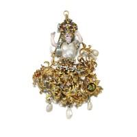 6. gold, baroque pearl, enamel and diamond pendant, southern italian, 17th century
