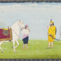 849. a groom leads a white stallion to asikhnobleman