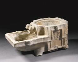 88. a monumental fatimid marble jar-stand (kilga), egypt, 12-13th century